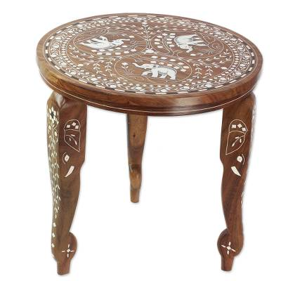 Wood accent table, 'Curious Elephants' - Wood Accent Table with Elephant and Floral Inlay from India