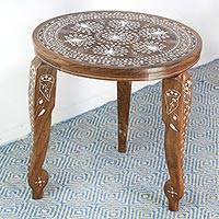 Wood accent table, 'Prancing Peacocks' - Wood Accent Table with Elephant and Peacock Inlay Motifs