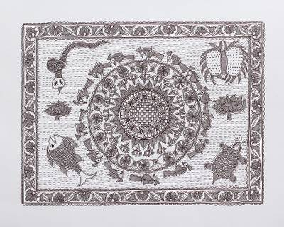 Signed Animal Themed Madhubani Painting from India