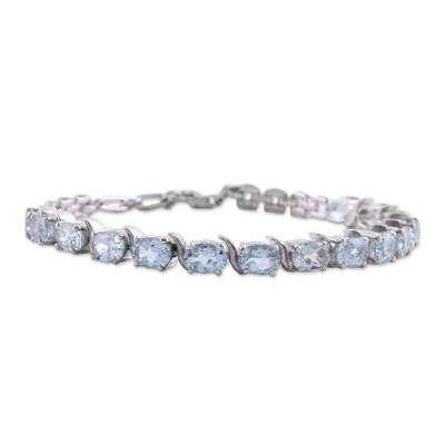 Blue Topaz and Sterling Silver Indian Tennis-Style Bracelet