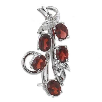 Rhodium Plated Garnet and Sterling Silver Leaf Brooch