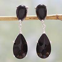 Onyx dangle earrings, 'Midnight Delight' - Onyx and Cubic Zirconia Dangle Earrings from India