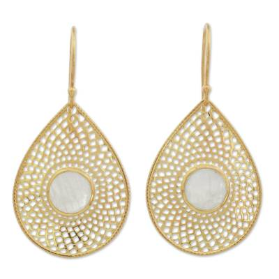 Gold Plated Rainbow Moonstone Dangle Earrings from India