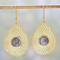 Gold plated labradorite dangle earrings, 'Dusky Webbed Drops' - Gold Plated Labradorite Dangle Earrings from India