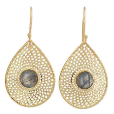 Gold Plated Labradorite Dangle Earrings from India