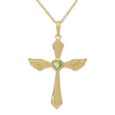 Gold Plated Peridot Cross Pendant Necklace from India