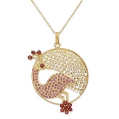 Gold Plated Garnet and Amethyst Peacock Pendant Necklace