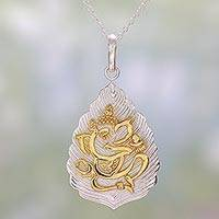 Gold accented sterling silver pendant necklace, 'Sterling Ganesha Leaf' - Gold Accented Sterling Silver Ganesha Pendant Necklace