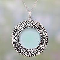 Chalcedony pendant necklace, 'Aqua Fascination' - Chalcedony and Sterling Silver Pendant Necklace from India