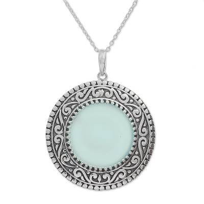 Novica Chalcedony and Sterling Silver Pendant Necklace from India