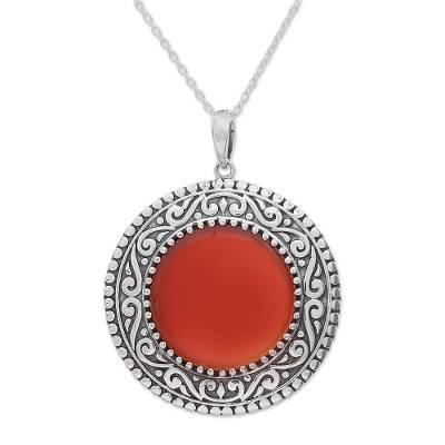 Sterling Silver and Red Onyx Pendant Necklace from India