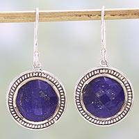 Lapis lazuli dangle earrings, 'Fascinating Ropes' - Lapis Lazuli and Sterling Silver Dangle Earrings from India