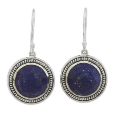 Lapis Lazuli and Sterling Silver Dangle Earrings from India