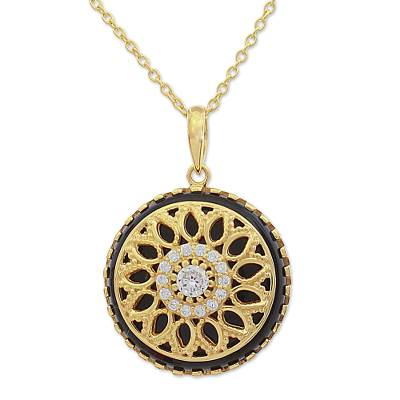 Gold Plated Black Onyx Pendant Necklace from India