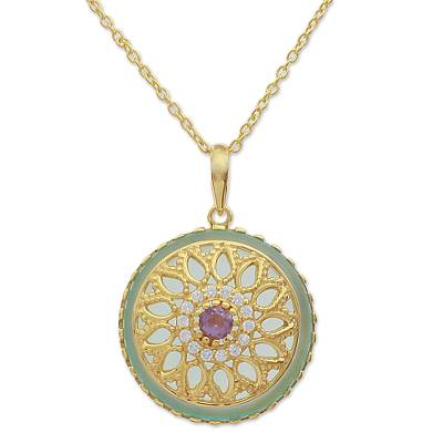 Gold Plated Amethyst and Chalcedony Indian Pendant Necklace