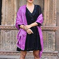 Wool shawl, 'Wisteria Paisley' - Woven Wool Shawl with Paisley Motifs in Wisteria from India