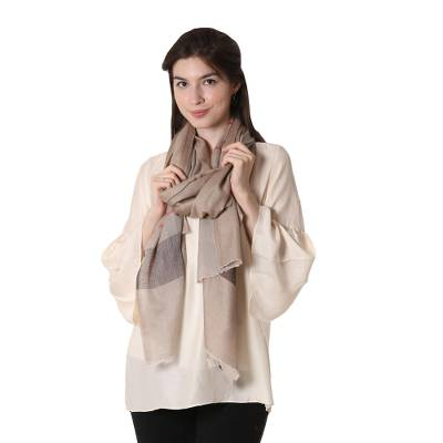 Wool shawl, 'Cream and Coffee' - Striped Woven Wool Shawl in Tan and Coffee from India