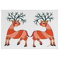 Gond painting, 'Gift of Friendship' - Signed Folk Gond Painting of Two Deer by an Indian Artist