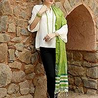 Tussar silk shawl, 'Fresh Forest Dreamer' - Artisan Crafted Green Leaves Hand Printed on Silk Shawl
