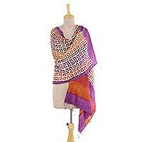 Tussar silk shawl, 'Delightful Maze' - India Tussar Silk Shawl with Geometric Motifs in Aubergine