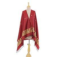 Silk shawl, 'Red Luxury' - Cherry Red 100% Silk Indian Shawl with Paisley Pattern
