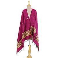 Silk shawl, 'Royal Memories in Magenta' - Indian Jacquard Woven 100% Silk Shawl in Magenta