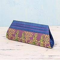 Silk clutch handbag, 'Royal Vow in Lilac and Blue' - Blue and Lilac 100% Silk Clutch Handbag from India