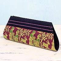 Silk clutch handbag, 'Royal Love in Navy and Magenta' - Navy and Magenta 100% Silk Clutch Handbag from India