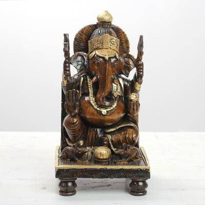 Wood sculpture, 'Ganesha Gaze' - Hand Carved Kadam Wood Ganesha Sculpture with Gold Tone