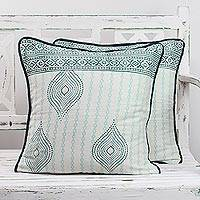 Cotton cushion covers, 'Garden of Desire' (pair) - Two Block Printed Cotton Cushion Covers in Emerald and Teal