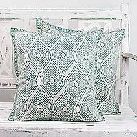 Cotton cushion covers, 'Emerald Desire' (pair) - Two Block Printed Cotton Emerald Cushion Covers from India