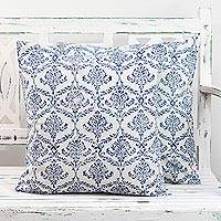 Cotton cushion covers, 'Blueberry Vines' (pair) - Pair of Cotton Cushion Covers in Caribbean Blue and White