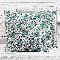 Cotton cushion covers, 'Turquoise Paisleys' (pair) - Pair of Paisley Cotton Cushion Covers in Turquoise Blue