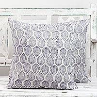 Cotton cushion covers, 'Violet Vines' (pair) - Pair of Cotton Cushion Covers in White and Violet from India