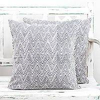 Cotton cushion covers, 'Slate Zigzags' (pair) - Pair of Cotton Cushion Covers in White and Slate from India