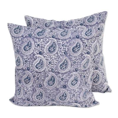 Cotton cushion covers, 'Slate Paisleys' (pair) - Pair of Indian Paisley Cotton Cushion Covers in Slate Grey