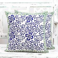 Cotton cushion covers, 'Indigo Vines' (pair) - Pair of Floral Cotton Cushion Covers in Indigo and Avocado