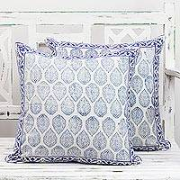 Cotton cushion covers, 'Lapis Vines' (pair) - Pair of Indian Cotton Cushion Covers in White and Lapis