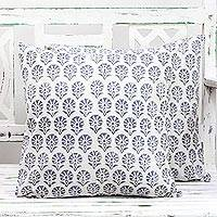 Cotton cushion covers, 'Stone Garden' (pair) - Pair of Floral Cotton Cushion Covers in Ivory and Stone