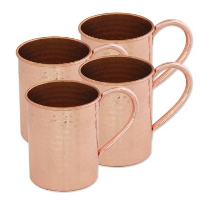 Copper mugs, 'Campfire Camaraderie' (set of 4) - Set of Four Hand Crafted Copper Handled Mugs from India
