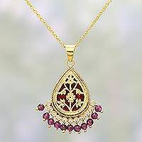 Gold plated amethyst pendant necklace, 'Floral Scintilla' (India)