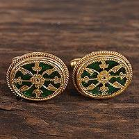 Gold plated cufflinks, 'Wonderful Green' - Gold Plated Green Glass Floral Cufflinks from India