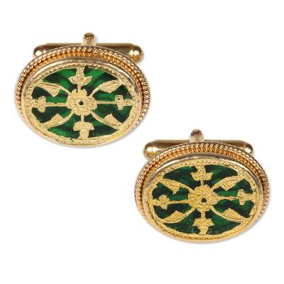 Gold Plated Green Glass Floral Cufflinks from India