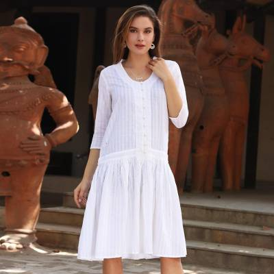Cotton dress, 'Summer Delight' - White Cotton Dress with Queen Anne Neckline from India
