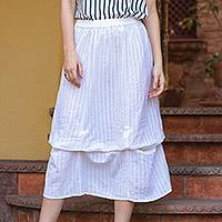 Cotton skirt, 'Blissful Summer' - Two Layered White Striped Cotton Scrunch Skirt from India