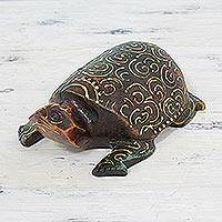 Wood sculpture, 'Antique Turtle' - Hand Carved Antiqued Wood Turtle Sculpture from India