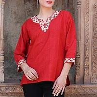 Cotton tunic, 'Chili Bouquet' - Indian 100% Cotton Tunic in Chili Red with Off White Flowers