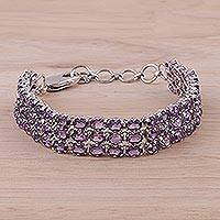 Rhodium plated amethyst link bracelet, 'Lavender Sparkle' - Amethyst and Rhodium Plated Silver Link Bracelet from India