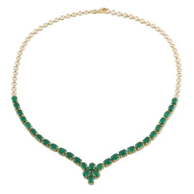 22k Gold Plated Green Onyx Pendant Necklace from India