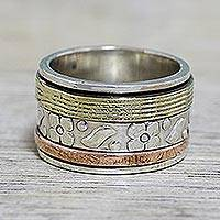 Sterling silver spinner ring, 'Floral Sheen' - Sterling Silver Copper and Brass Indian Floral Spinner Ring